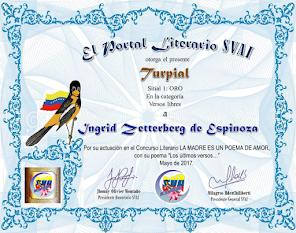 Me otorgaron El Turpial de oro...primer puesto...en Sociedad venezolana de artistas...