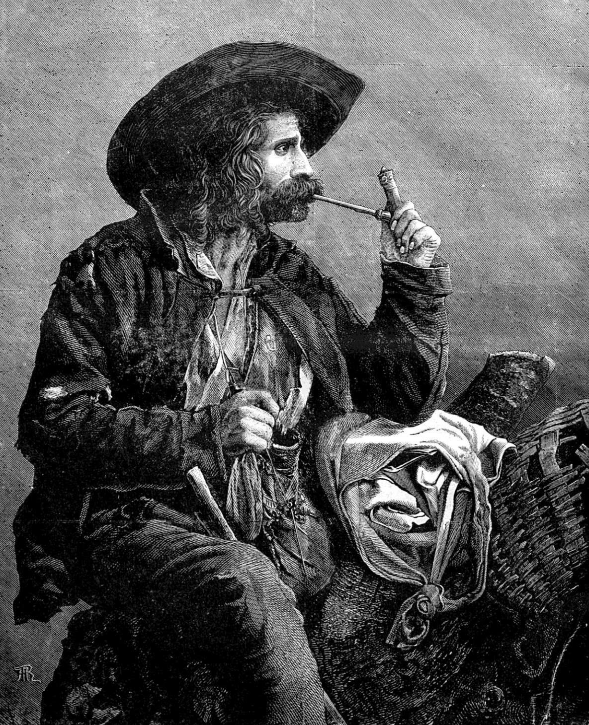 An illustration of the traditional costume of the Vlah gypsies, from a Hungarian book published in 1874.