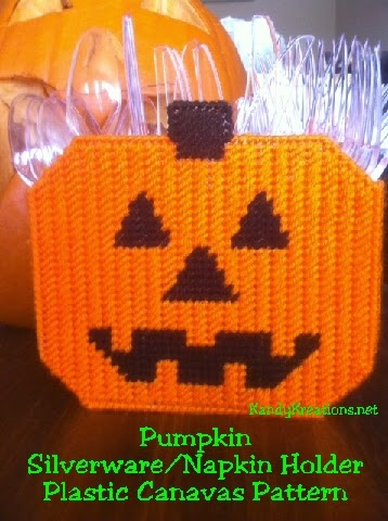Decorate your Halloween party in a fun and useful way with this cute Halloween pumpkin to sit on your table and hold your party necessities.  This Plastic canvas pattern can be used as a Silverware holder or as a napkin holder at your party.  Try this quick plastic canvas sew that will make a lot of WOW at your Halloween party.