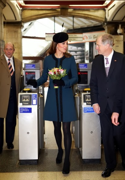 Catherine Middleton wears a beautiful teal By Marlene Birger coat, March 2013
