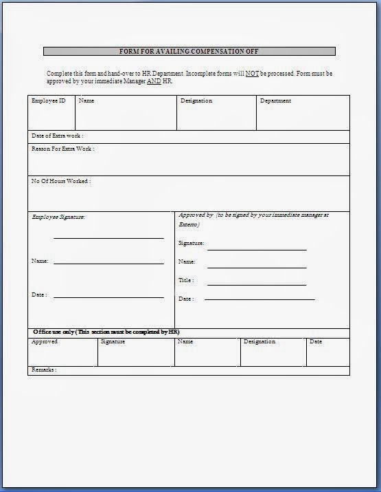 Application Form Format Corporate Leave Application Format