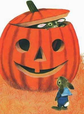 a pumpkin and two bunnies for halloween illustration by Richard Scarry