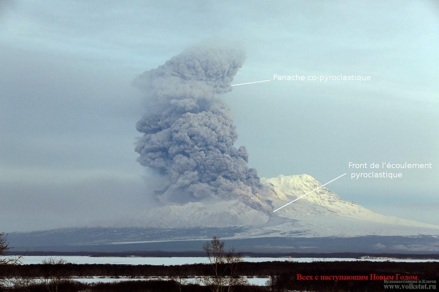 Ecoulement pyroclastique du volcan Shiveluch, 28 decembre 2013