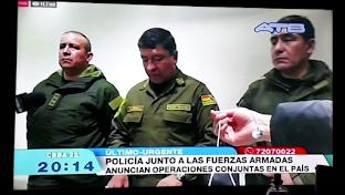 """Ejército de Bolivia sale a las calles para ejecutar """"operaciones conjuntas con la Policía"""""""