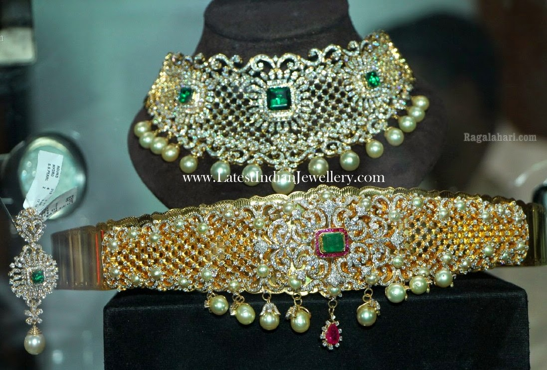 diamond bridal necklace vaddanam set
