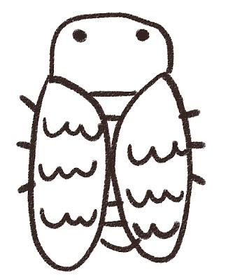 アブラゼミのイラスト(蝉・虫) モノクロ線画