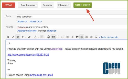 Screenleap for Gmail,screencast,pantalla compartida,chrome,safari,firefox