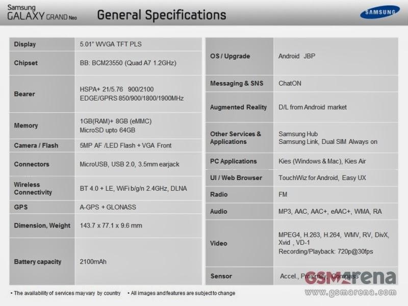 Svelate tramite un documento interno le caratteristiche hardware del nuovo phablet android a basso costo di Samsung