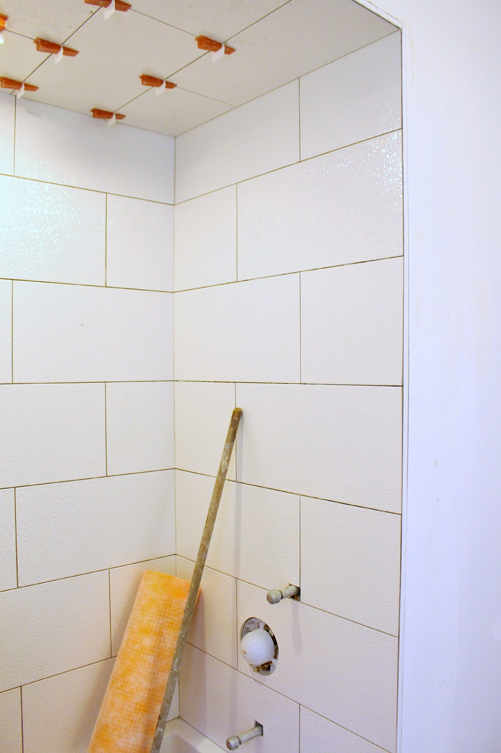 Bathtub surround getting tiled