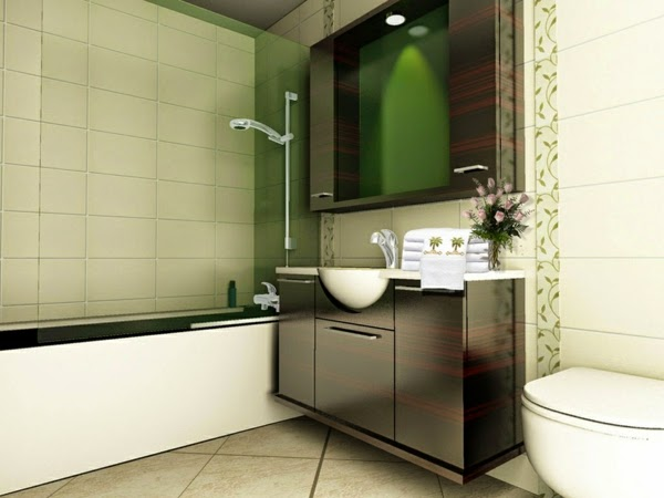 Baños Elegantes Pequenos:Aquí vemos como una bañera lateral, un lavatorio central en madera