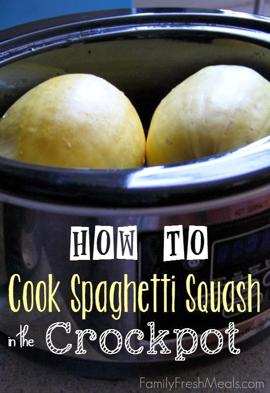 How to Cook Spaghetti Squash in the CrockPot from Family Fresh Meals found on SlowCookerFromScratch.com