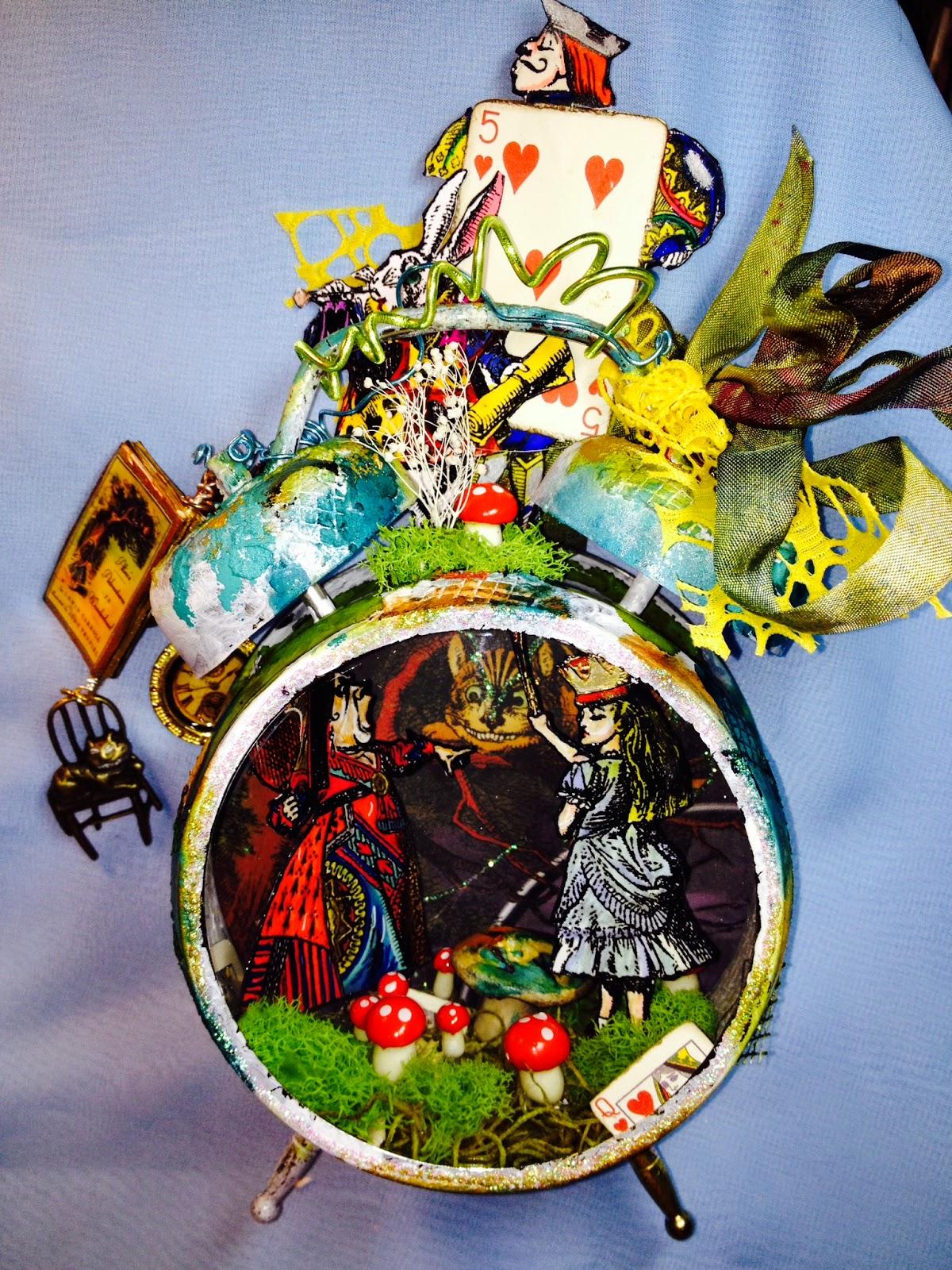 Juju crafts alice in wonderland assemblage clock night for Alice in wonderland crafts