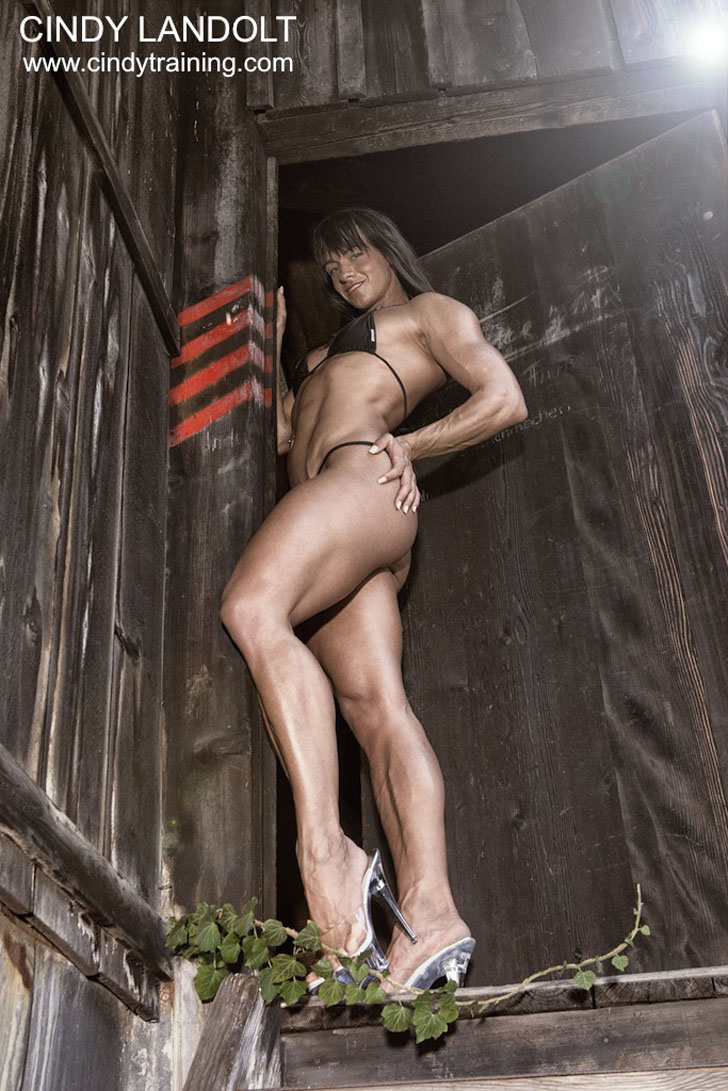 Cindy Landolt Modeling Her Great Legs In A Black Bikini