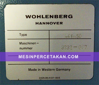 Wohlenberg 44 FM 50 | Serial Number