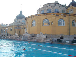 """"""" 50 Meters"""" Olympic pool with lanes in  """"Szechenyi Thermal Baths"""" swimming pools in Budapest."""