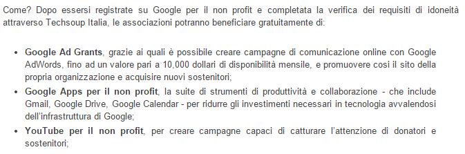 non profit google italia Onlus