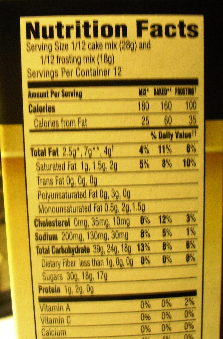 Duncan Hines Angel Food Cake Nutrition Facts