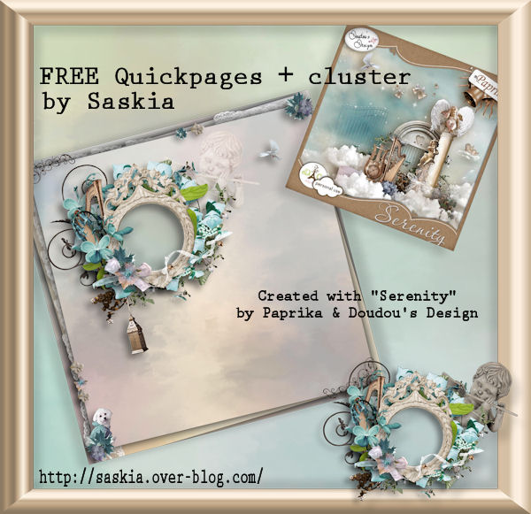 "Free scrapbook cluster and quickpage  ""Serenity"" by Paprika & Doudouscrap"