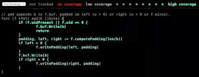 go tool cover -html=count.out с режимом тестового покрытия count