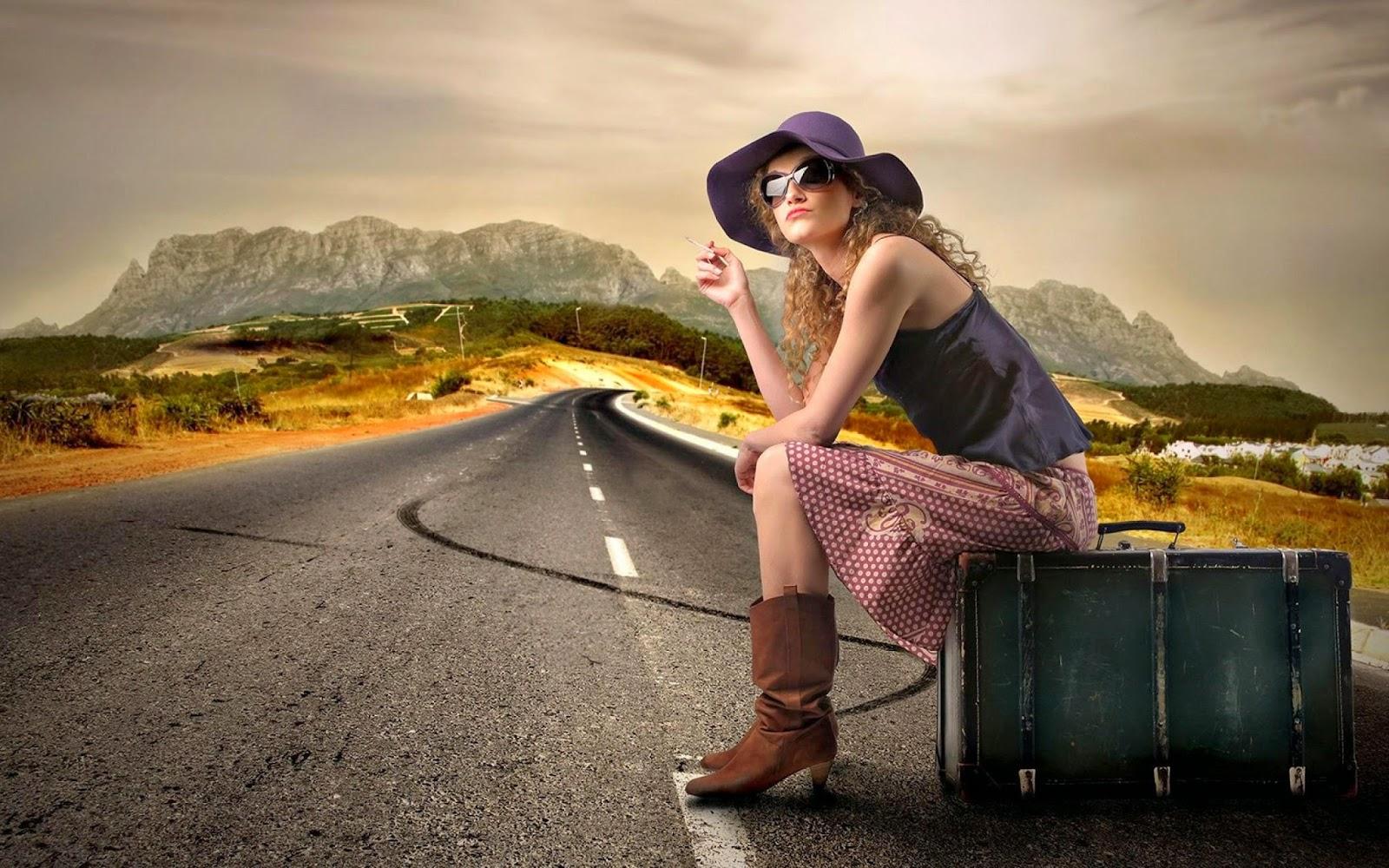 Beautiful Girl On The Road HD Wallpaper