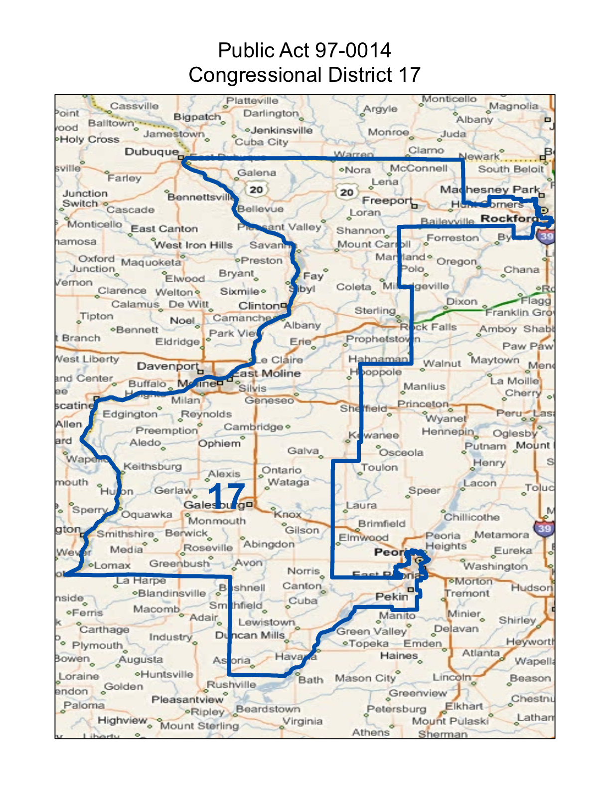 map of realigned illinois 17th congressional district