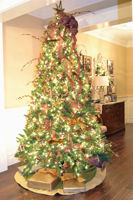 Pottery Barn star tree topper, metallic Christmas tree, copper, gold brown tree