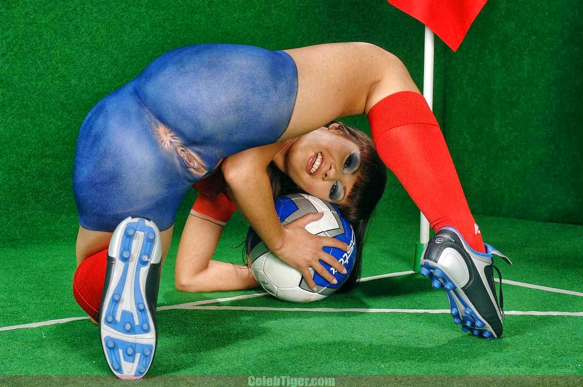Football body paint nude shoulders down