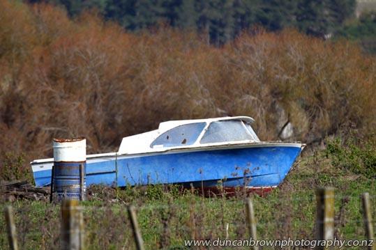 Boat in paddock, Mohaka Township Rd, Mohaka photograph