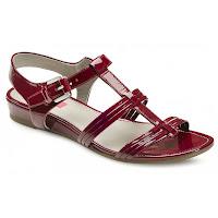 Sandale ECCO rosii din piele lacuita cu talpa joasa