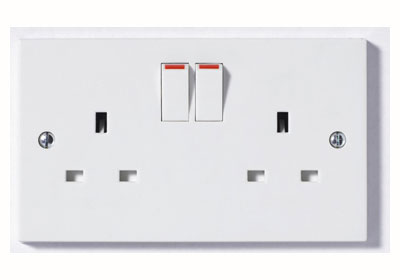 The BG 922B Square Edge - 2 Gang 13A Switch Socket DP White Plastic
