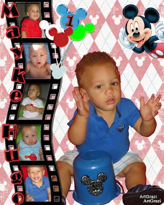 Banner para festa de 1 ano personalizado com o tema do Mickey