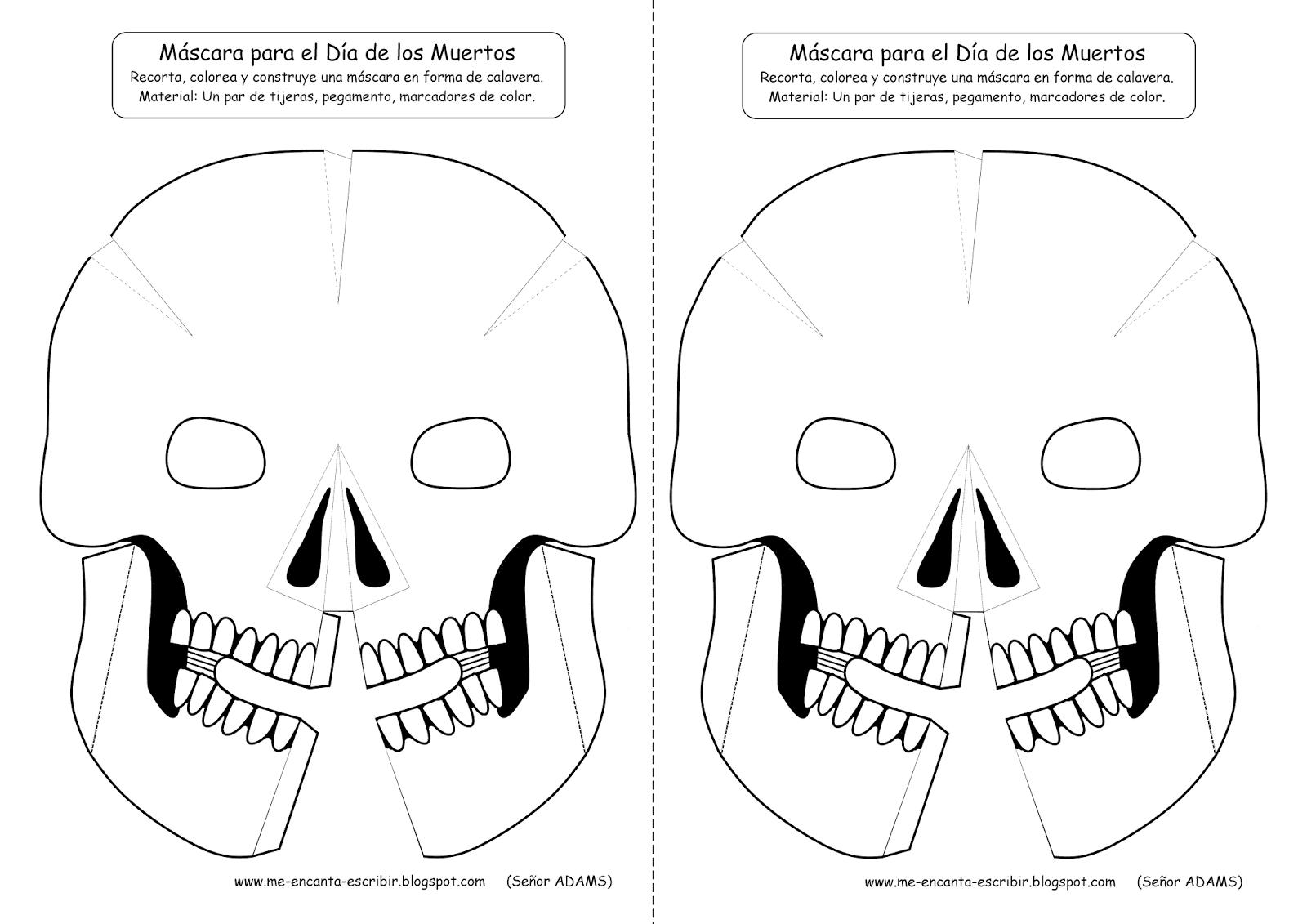 Me encanta escribir en español: Máscara para el Día de los Muertos