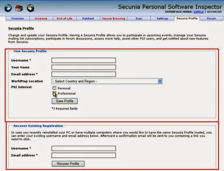 Secunia - Criar um perfil