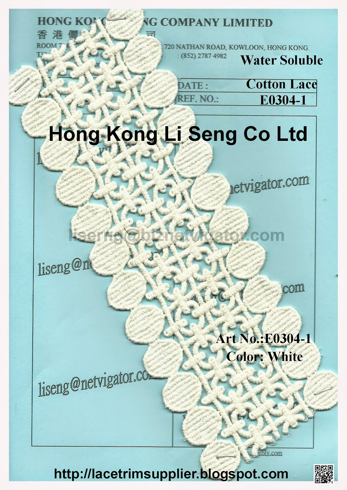 Water Soluble Embroidery Cotton Lace Manufacturer - Hong Kong Li Seng Co Ltd