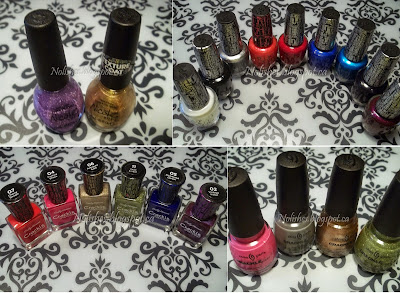 Collage of 21 different crackle polishes from 4 different brands (China Glaze, Nicole, Sally Hansen, and OPI)