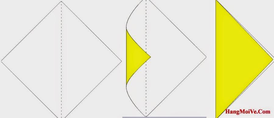 Bước 1: Gấp đôi tờ giấy lại theo chiều từ trái sang phải, sau đó lại mở ra, mục đích tạo nếp gấp.