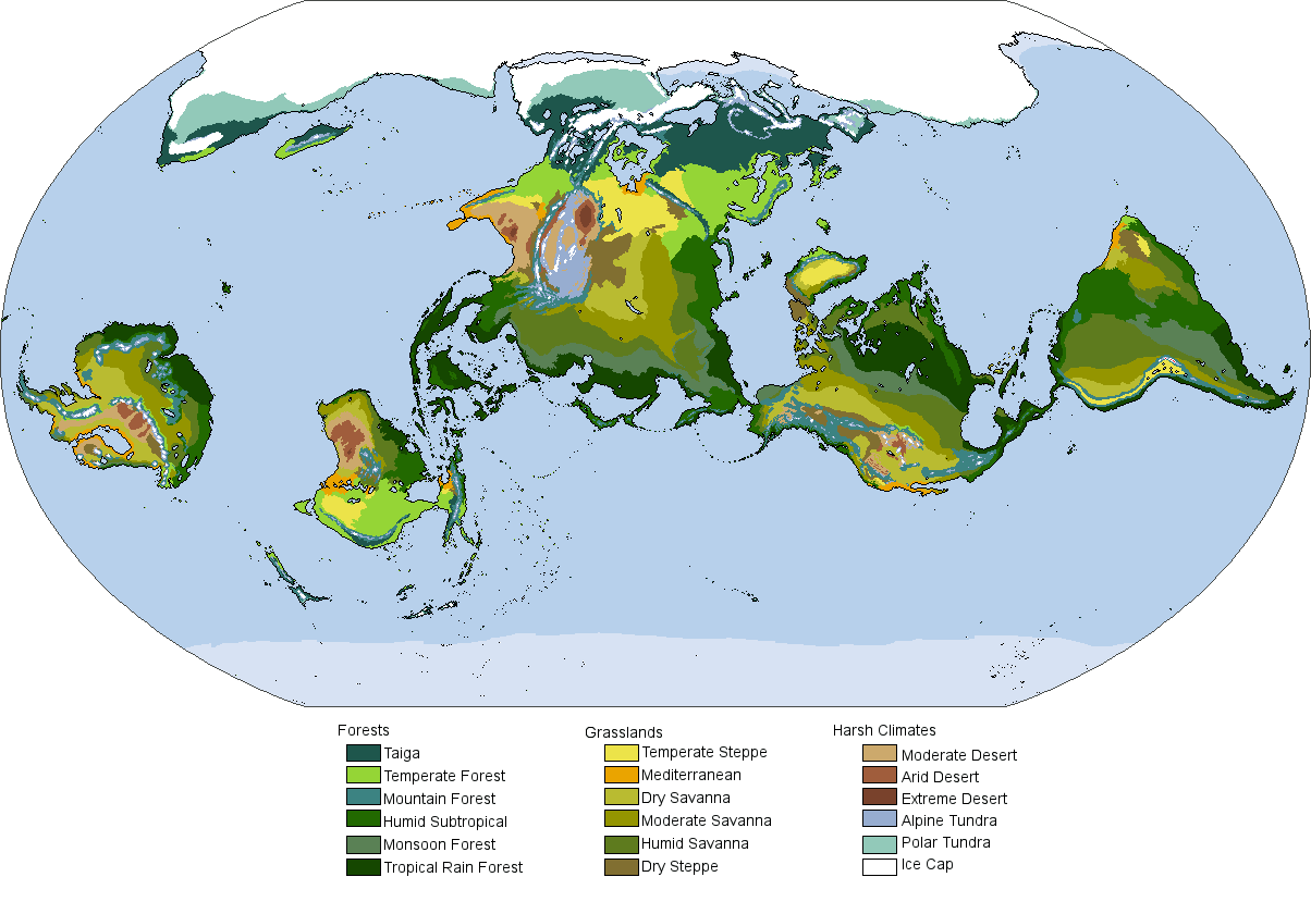 Alternate Earth Map.Alternate History Weekly Update Map Monday The Biomes Of A Tilted