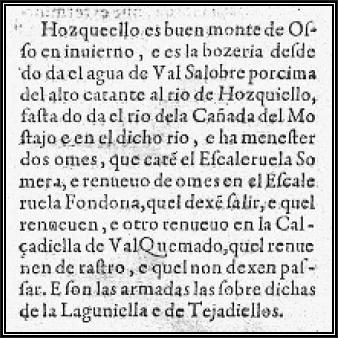 Referencia a El Hosquillo en el Libro de la Montería de Alfonso XI