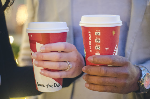 photography, save the date, idea, starbucks, engagement