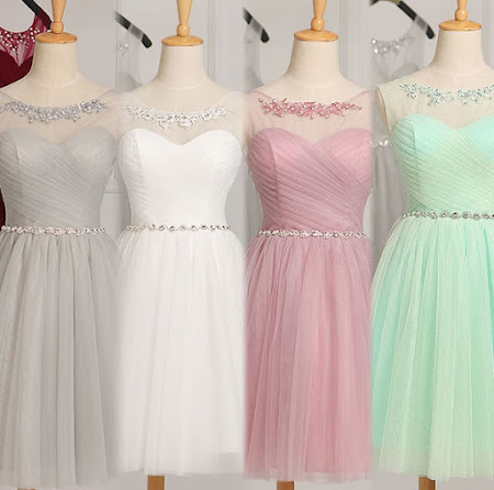 Luxury Collar and Waist Sequin Lace Bridesmaids Midi Dress