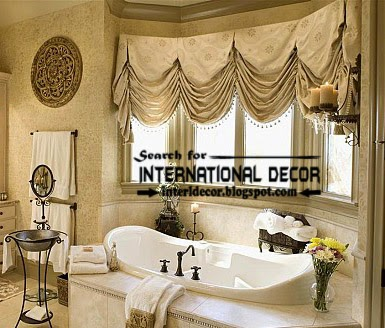 Luxury French curtain style for bathroom window decorations, French bathroom curtains