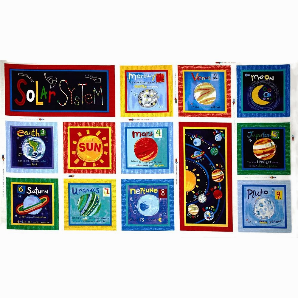 Solar system baby quilt polka dot palm tree for Solar system fabric panel