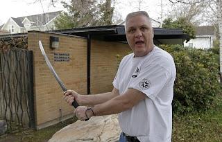 Kent Hendrix, Mormon bishop, Samurai sword,