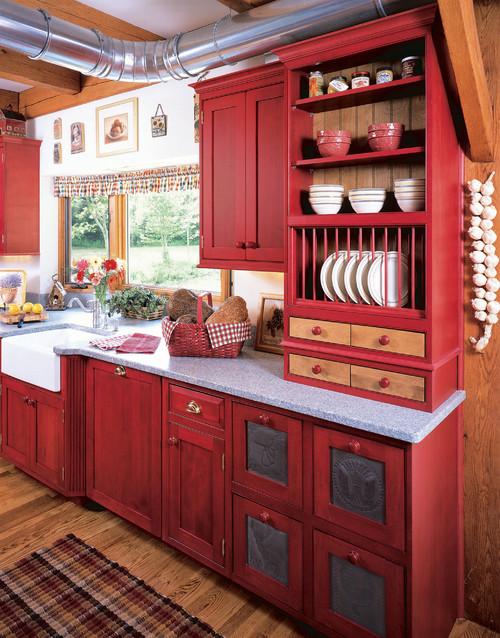 Trend homes revolutionize your kitchen with red kitchen ideas for Dark red kitchen cabinets