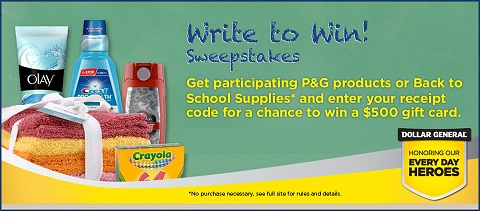 Write to Win sweepstakes