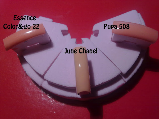 confronto tra pupa 508, essence color&go 22 e june chanel 539