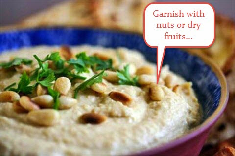 Nuts garnish on Hummus