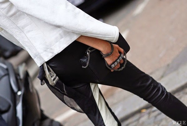 street style - leather pants - valentino studded bag