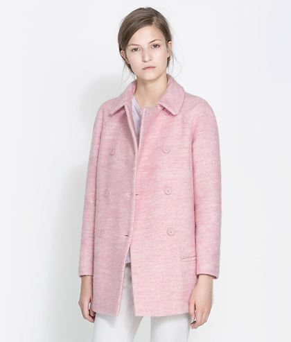 Soft pale pink mid length jacket Zara AW13