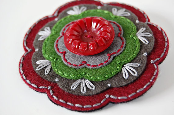 Burgundy and Green Wool Brooch